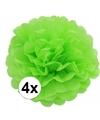4 lime groene decoratie pompoms 35 cm