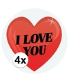 4 x cadeaustickers i love you hart 9 cm