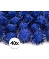 40x kobalt blauwe knutsel pompons 20 mm