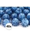 40x lichtblauw knutsel pompons 20 mm