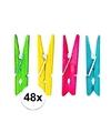 48x houten knijpers gekleurd 4 5 cm