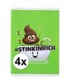 4x a4 geblokt schriften drol emoji groen