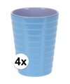 4x bekers melamine ribbel blauw 300 ml