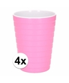 4x bekers melamine ribbel fuchsia 300 ml