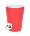 4x bekers melamine ribbel rood 300 ml
