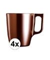 4x bruine koffie bekers mokken 250 ml