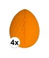 4x decoratie paasei oranje 10 cm