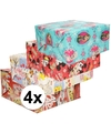 4x disney inpakpapier pakket voor kinder cadeautjes 200 x 70 cm