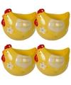 4x eierdop kip geel 8 cm