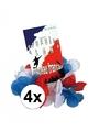 4x hawaii armbandjes rood wit blauw