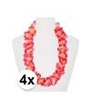 4x hawaii kransen roze oranje