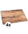 4x placemat eikenhout opdruk 44 x 28 5 cm