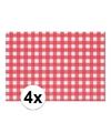 4x placemat rood wit geblokt 43 x 30 cm