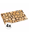 4x placemats met boomstronk print 44 x 28 cm