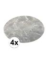 4x ronde placemat marmer grijs 38 cm