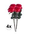 4x rood gele rozen simone kunstbloemen 45 cm