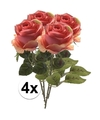 4x roze rozen simone kunstbloemen 45 cm