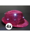 4x roze toppers pailletten hoedje met led licht