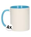 4x wit met lichtblauwe blanco mok
