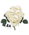 4x witte roos deluxe kunstbloemen 31 cm