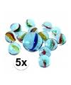 5 netjes glazen gekleurde knikkers