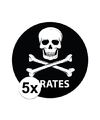 5 stuks zwarte piraten stickers 14 8 cm