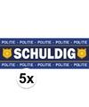 5 x schuldig stickers voor politie agent kostuum