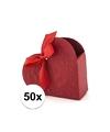 50x bruiloft kado doosjes rood hart