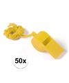 50x geel fluitje aan koord