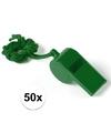 50x groen fluitje aan koord