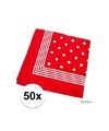 50x rode boeren zakdoeken met stippen