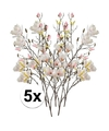 5x creme magnolia kunstbloemen tak 105 cm