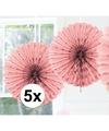 5x decoratie waaier licht roze 45 cm