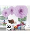 5x decoratie waaier lila 45 cm