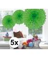 5x decoratie waaier lime groen 45 cm
