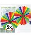 5x decoratie waaier regenboog kleuren 45 cm