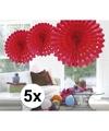5x decoratie waaier rood 45 cm