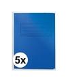 5x dossiermappen 24 x 35 cm blauw