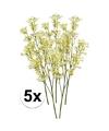 5x geel groene kroonkruid kunstbloemen tak 68 cm