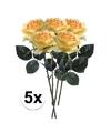 5x gele rozen simone kunstbloemen 45 cm