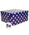 5x inpakpapier blauw met sterren 200 x 70 cm op rol