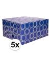 5x inpakpapier donkerblauw met patroon 200 x 70 cm op rol
