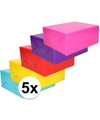 5x inpakpapier pakket felle kleurtjes 70 x 200 cm