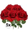5x kunstbloem roos carol rood 37 cm