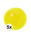 5x opblaasbare strandbal neon geel 30 cm