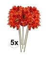5x oranje gerbera kunstbloemen 47 cm