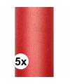5x rode tule stof 15 cm breed