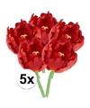 5x rode tulp deluxe kunstbloemen 25 cm