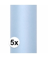 5x rollen tule stof lichtblauw 0 15 x 9 meter