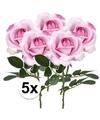 5x roze rozen carol kunstbloemen 37 cm